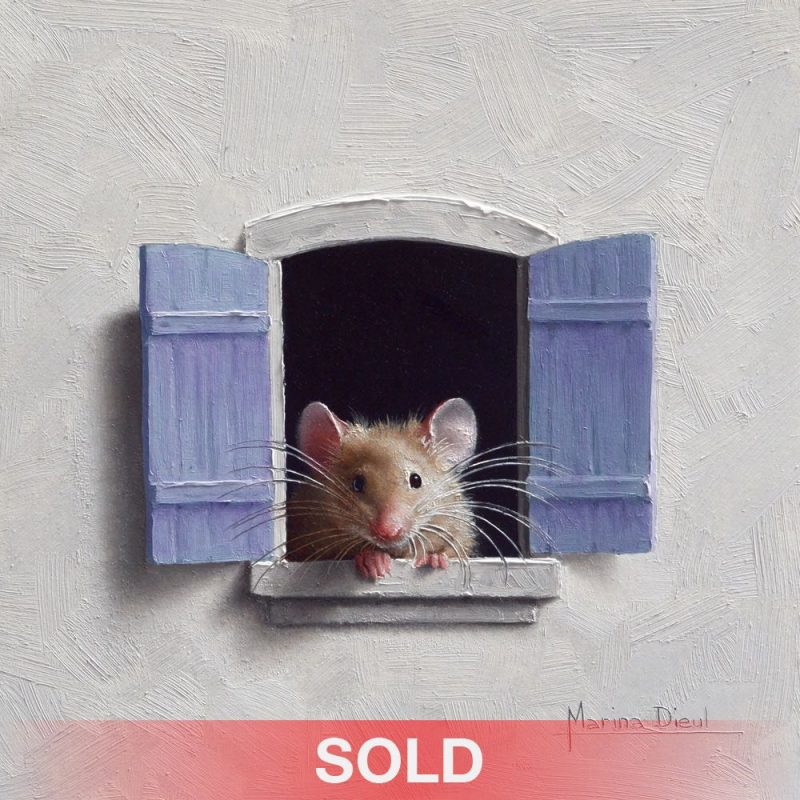 Marina Dieul Souris a la fenetre 13 mouse rat wildlife oil painting