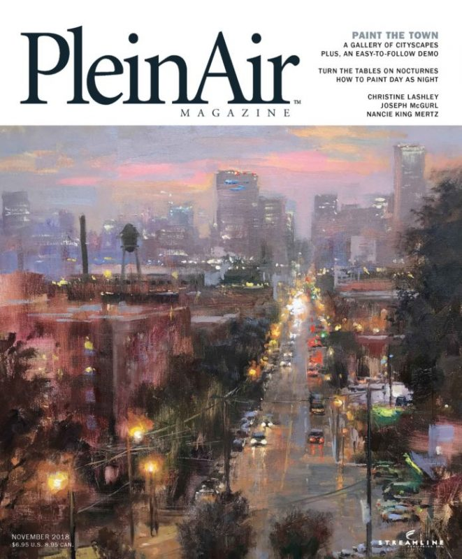 plein air magazine november 2018 cityscape, landscape figure figurative art publication
