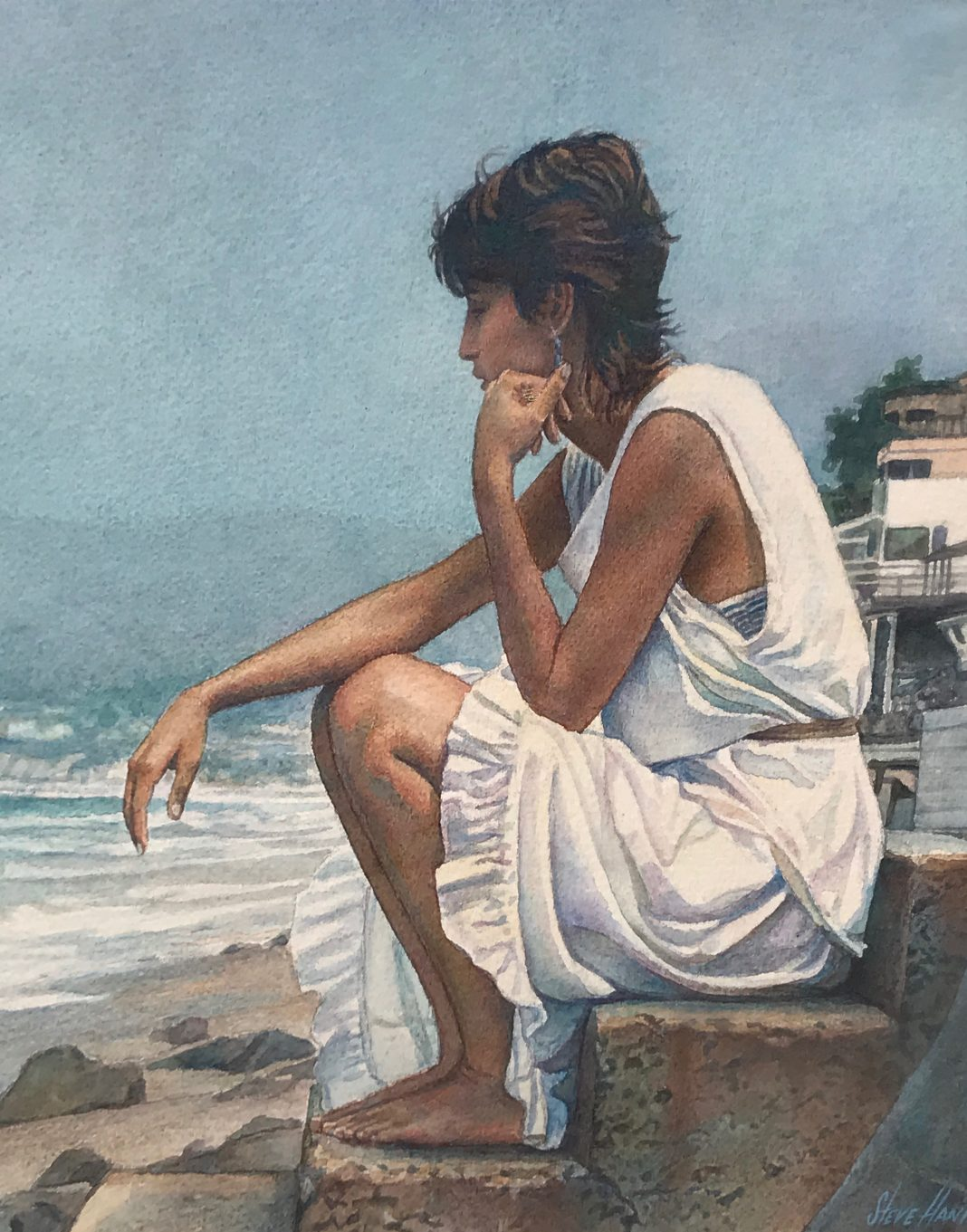 steve hanks shore steps figure figurative woman beach ocean watercolor painting