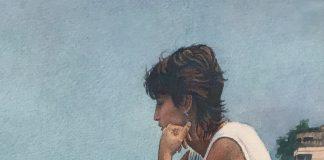steve hanks shore steps figure figurative woman beach ocean watercolor painting