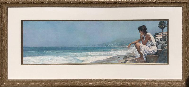 steve hanks shore steps figure figurative ocean beach watercolor painting