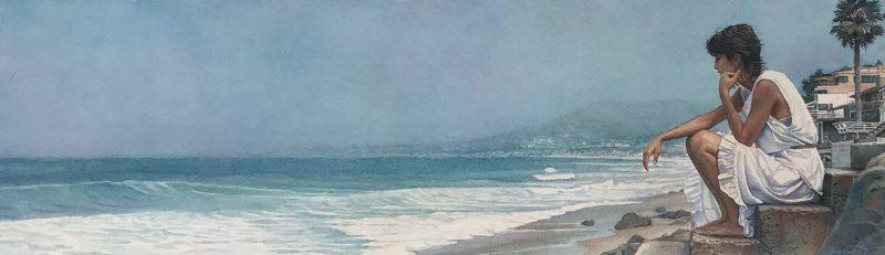 steve hanks shore steps figure figurative ocean beach watercolor painting