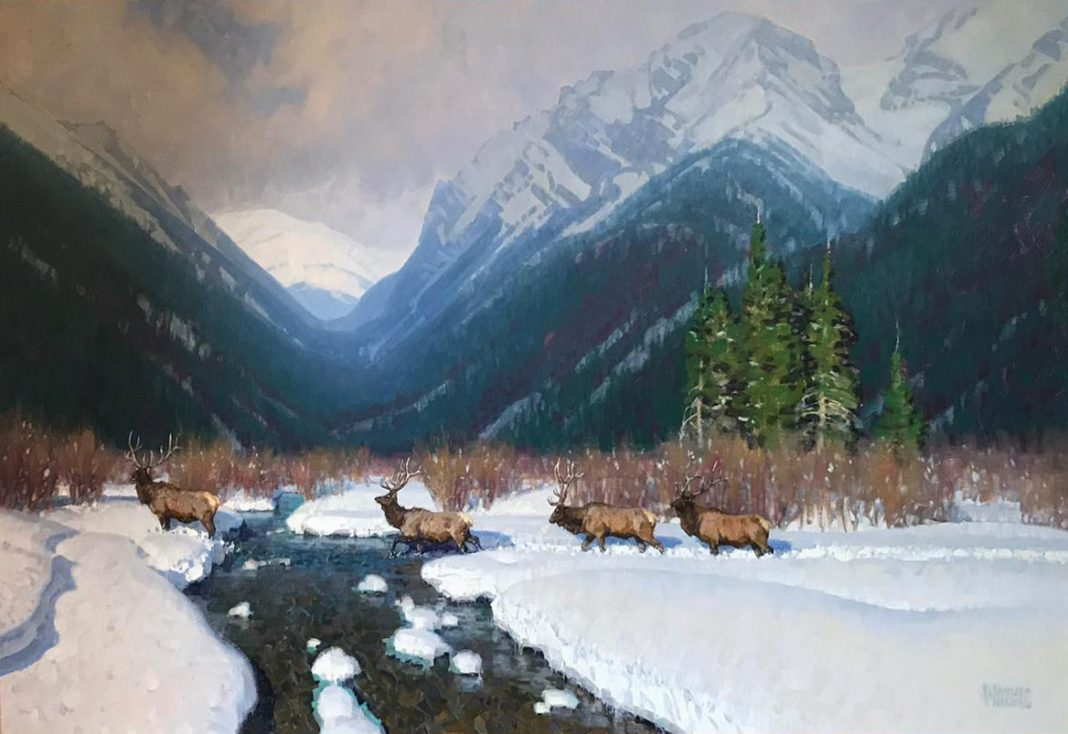 wayne wolfe mountain monarchs wildlife elk snow mountains western oil painting