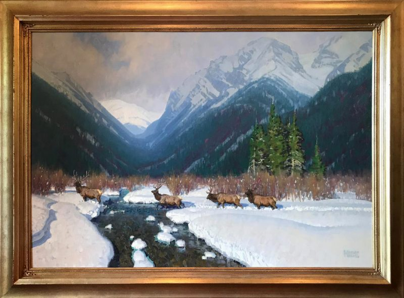 wayne wolfe mountain monarchs wildlife elk snow mountains wilderness landscape western oil painting