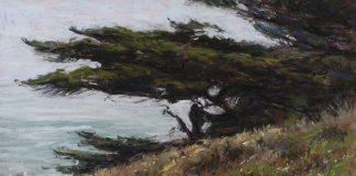 Lorenzo Chavez California Cypress pastel ocean seascape tree oil painting