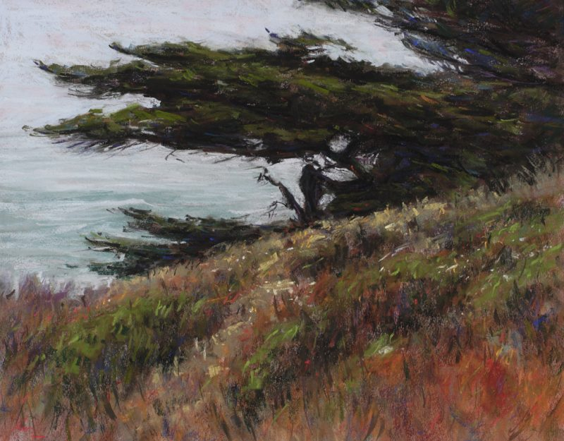 Lorenzo Chavez California Cypress pastel ocean seascape tree oil painting