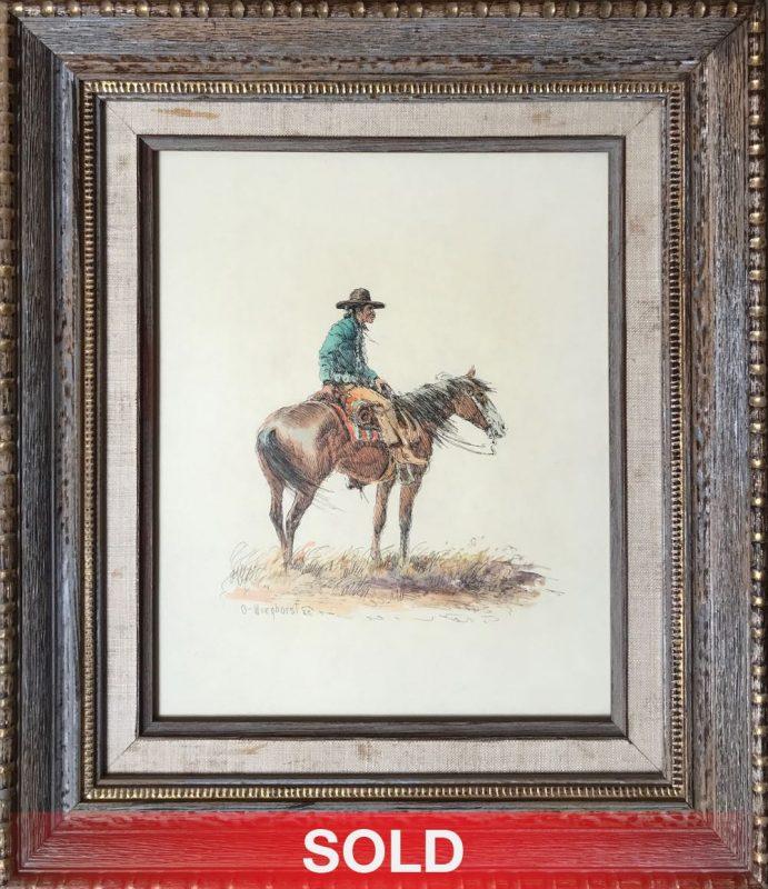 olaf wieghorst cowboy charro pen ink watercolor western painting horse