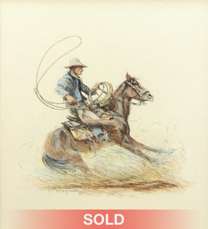 Olaf Wieghorst Roping Cowboy Rearing horse western painting
