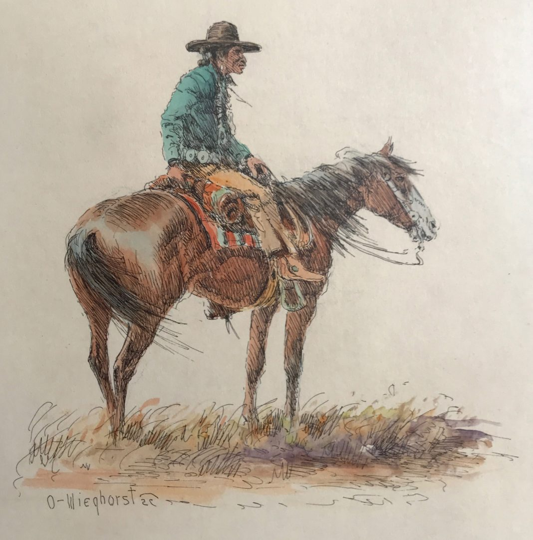 olaf wieghorst cowboy on horse horseback watercolor ink western painting