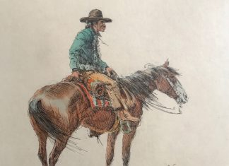 olaf wieghorst cowboy on horse horseback watercolor ink western painting