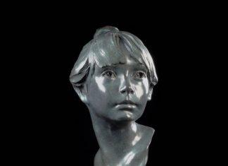 """Glenna Goodacre """"Erica"""" bronze sculpture bust figurative figure bronze sculpture portrait woman girl"""