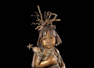 John Coleman Little Hopi Clowns bronze Native American girl sculpture
