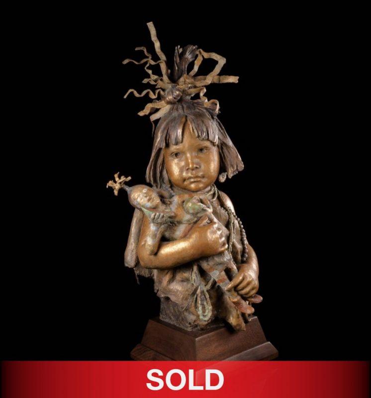 John Coleman Little Hopi Clowns bronze Native American girl sculpture
