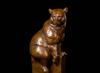 "Dan Ostermiller ""L'Ours"" bear bronze wildlife sculpture"