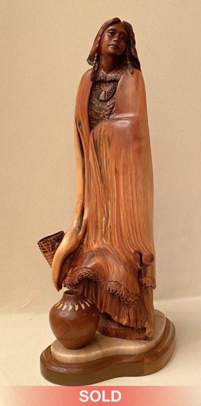 Bob Boomer Maiden With Vessels manzanita wood carving Native American woman girl western sculpture sold