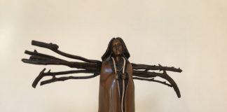 Bob Boomer Preparing For The Storm bronze sculpture Native American
