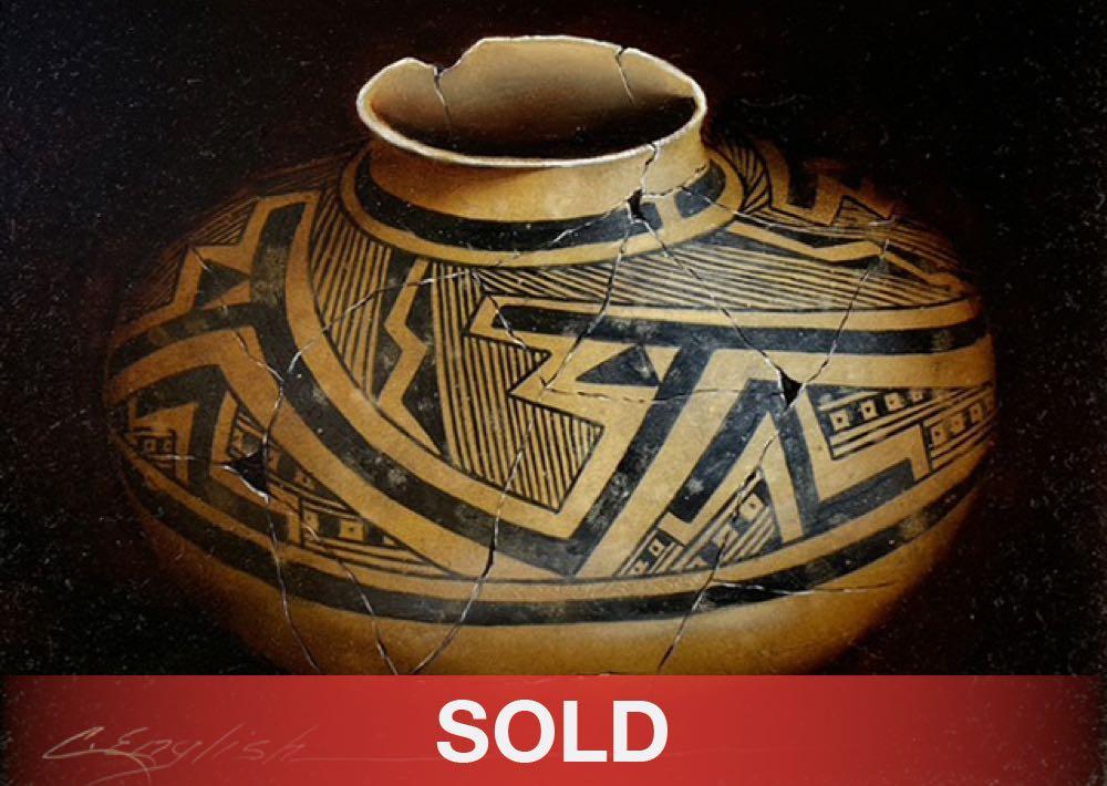 Cheryl English Anasazi pottery Native American oil painting sold