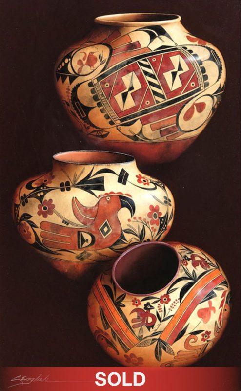 Cheryl English Native Designs Native American pottery still life oil painting