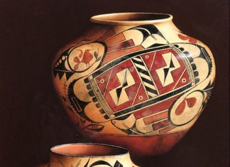 Cheryl English Native Designs Native American pottery still life oil painting
