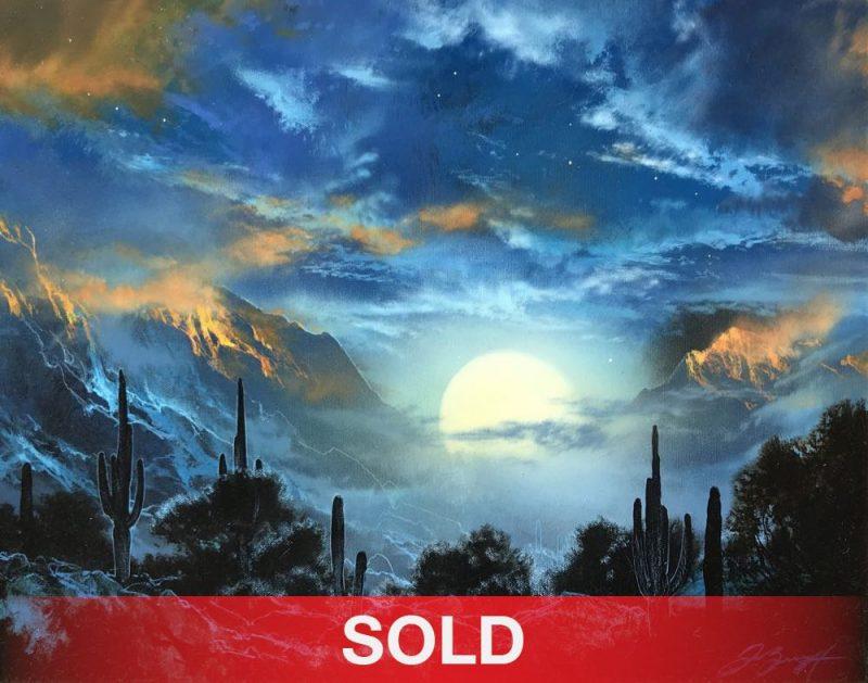 Dale Terbush Here Beside My Heart moon clouds desert cacti cactus western oil painting sold
