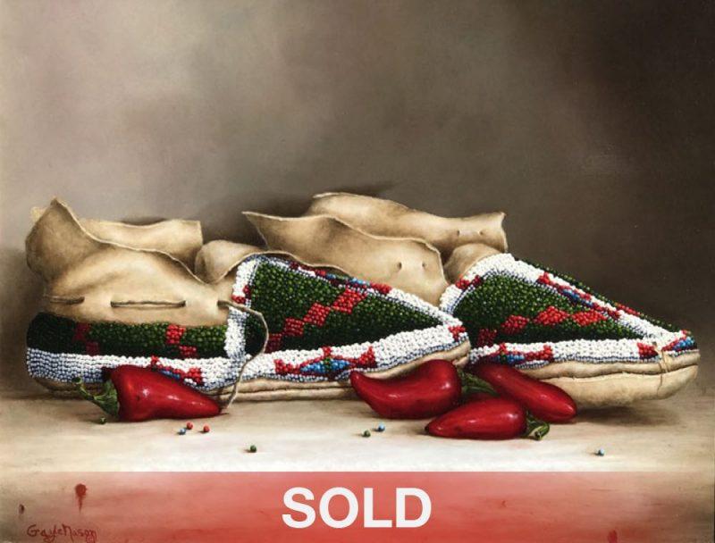 Gayle Nason Arapaho Design original Native American still life oil painting moccasins sold