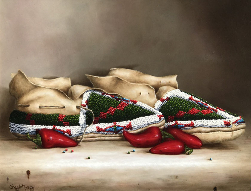 Gayle Nason Arapaho Design original Native American still life oil painting moccasins