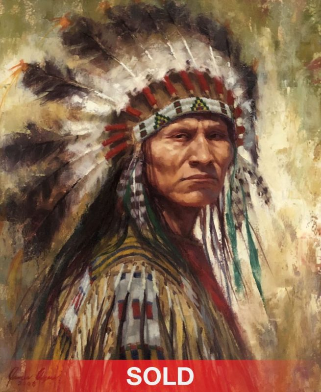 James Ayers Face of Defiance Lakota Native American India chief western oil painting