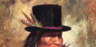 James Ayers His New Hat Oglala Sioux original oil painting Native American