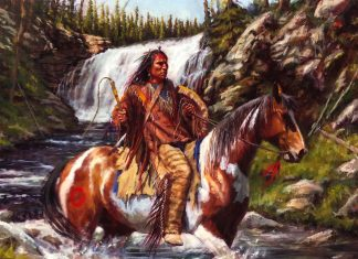 James Ayers Strong And Swift Native American horse horseback swift water river waterfall western oil painting