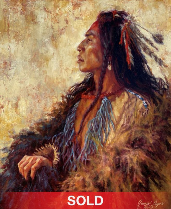 James Ayers Supreme Dignity Native America portrait western oil painting sold
