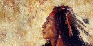 James Ayers Supreme Dignity Native America portrait western oil painting