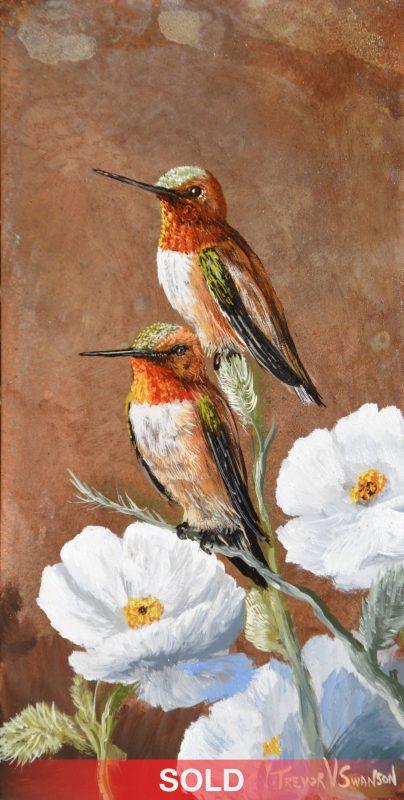 Trevor Swanson Thistel Stop hummingbird wildlife oil painting on copper sold