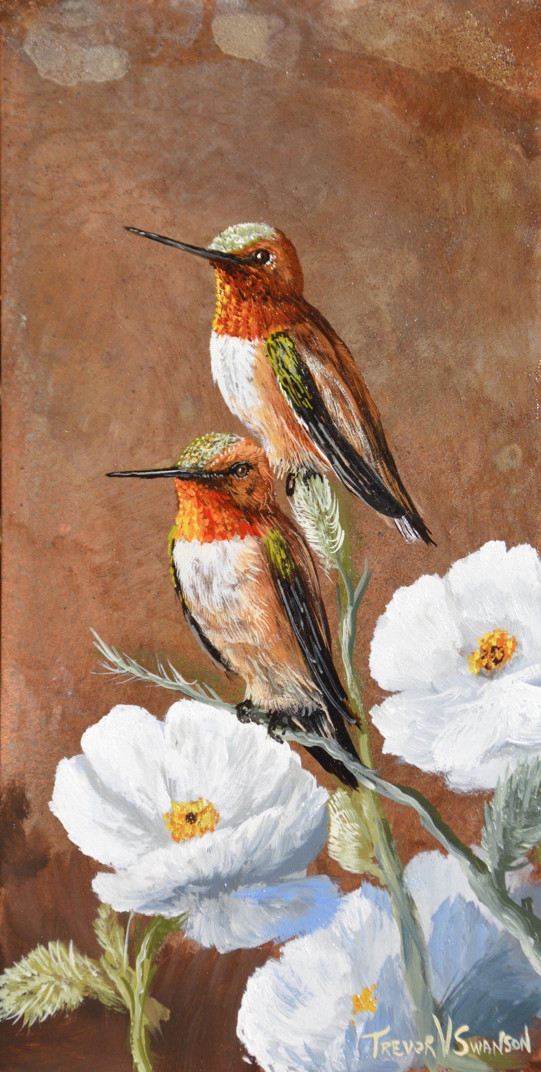 Trevor Swanson Thistel Stop hummingbird wildlife oil painting on copper