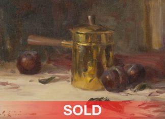 "John Encinias - ""Brass Pot & Plums"" plum still life oil painting"