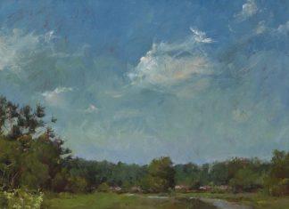 "Robert Johnson - ""Snowy Egret"" wildlife landscape oil painting"