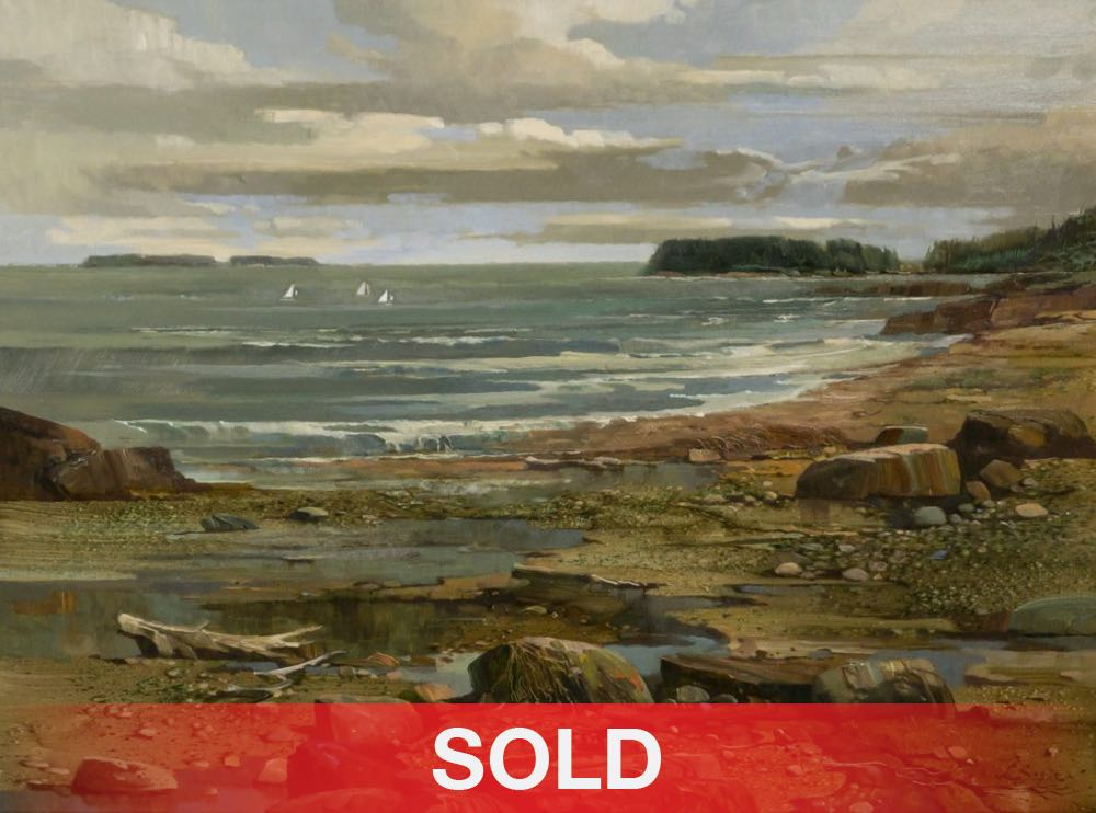 Laurence Sisson Three Little Sailors seascape sailboats boat beach ocean landscape oil painting