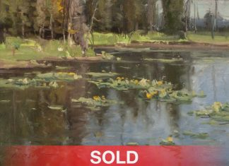 "Clyde Aspevig ""Lily Pond Study"" water landscape oil painting"