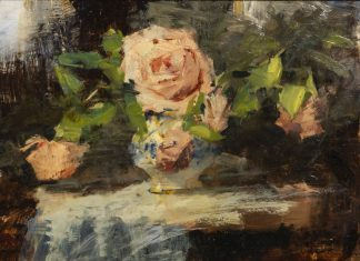 "George William Allen - ""Roses On A Tea Cart"""