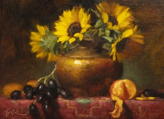 "Elizabeth Robbins - ""Sunflowers In Copper Pot Study"""