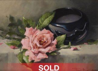 "Joni Falk - ""Carved Elegance"" Native American pot pottery rose oil still life painting"