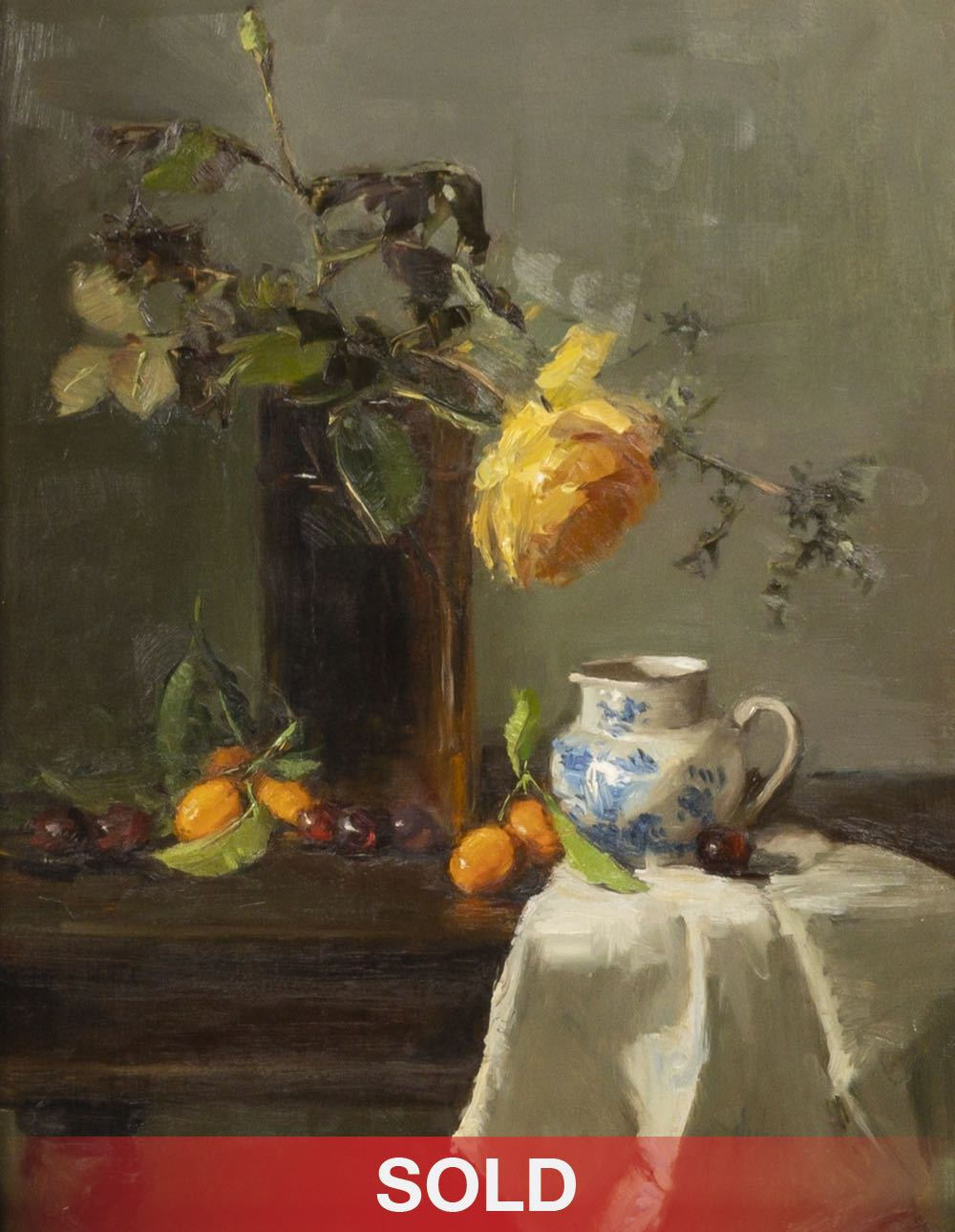 Nancy Chaboun still life oil painting flowers tea cup
