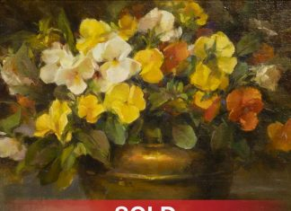 Stephanie Birdsall still life oil painting brass pot flowers