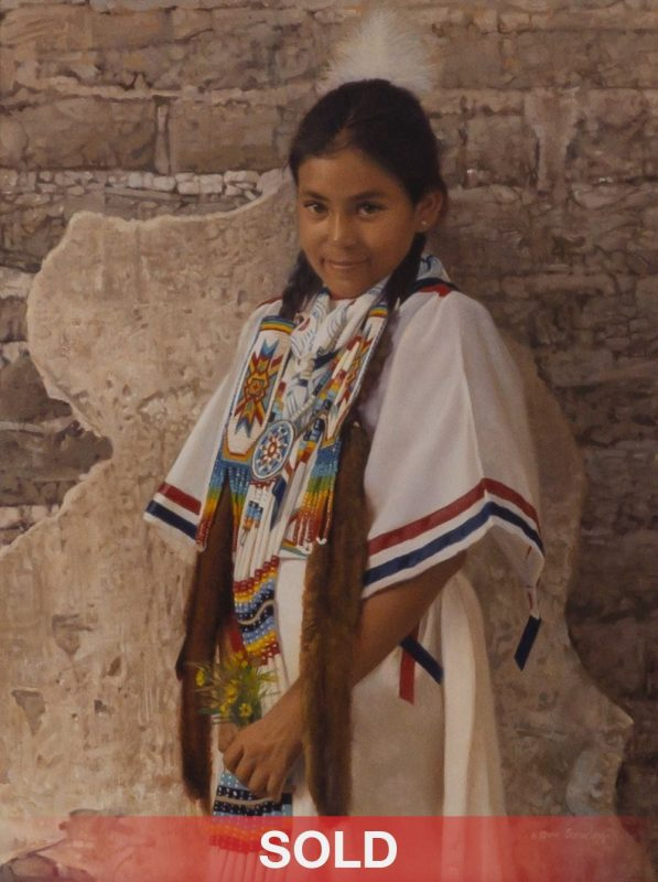 """Donald Crowley """"Paiute Girl With Flowers"""" Native American girl oil painting"""