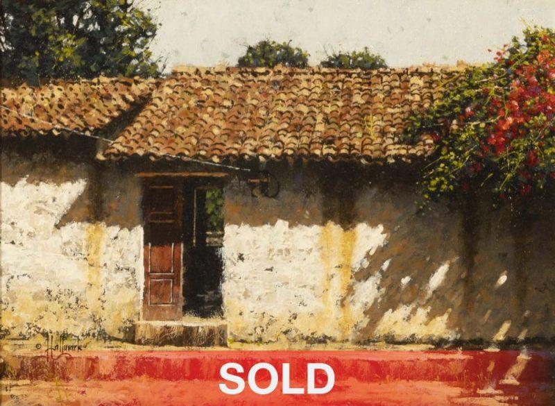 "George Hallmark ""En Calma"" adobe building architecture western oil painting"
