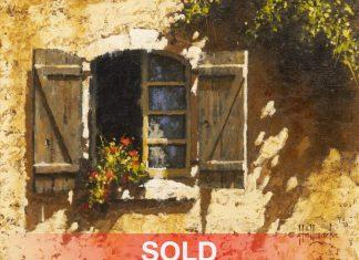 "George Hallmark - ""Window In Lembeye"" adobe architecture flowers western oil painting"