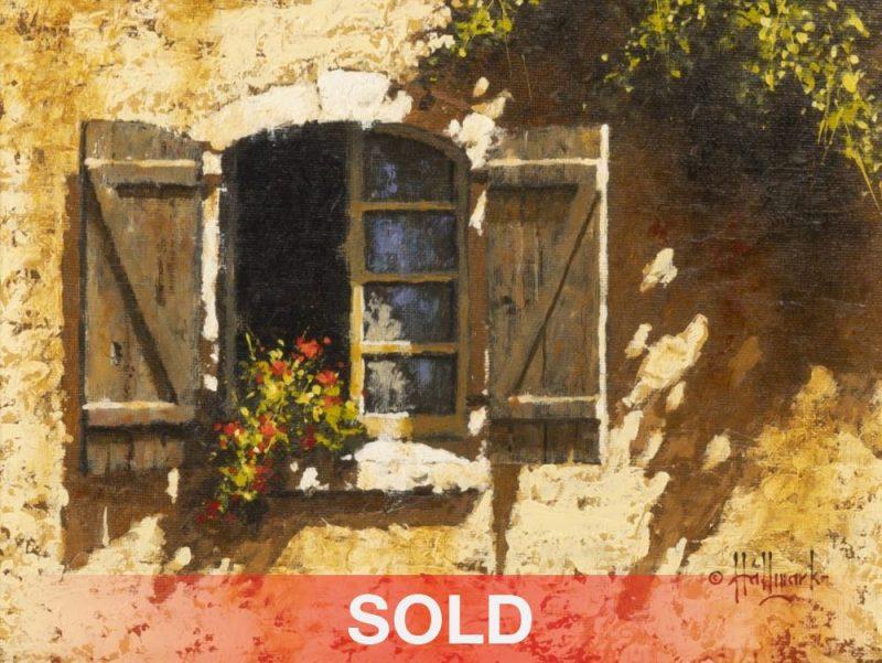 "George Hallmark ""Window In Lembeye"" adobe architecture flowers western oil painting"
