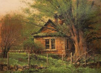 "Bruce Cheever - ""Black Willow"" house ranch oil painting"