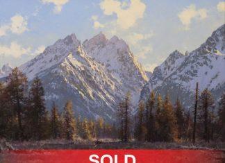 "Francois Koch - ""The Teton Range"" mountains Wyoming western landscape oil painting"