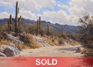 "Francois Koch - ""Clouds Over The Rincons"" desert clouds saguaro cactus western landscape oil painting"