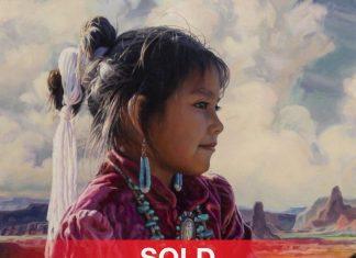 "Brad Schmidt - ""Little Navajo"" Native America girl Monument Valley western portrait landscape oil painting"